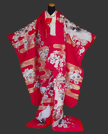 神社 結婚式 食事会 色打掛衣装 赤 梅 つる 刺繍  栃木 群馬 埼玉