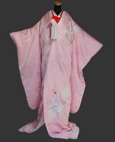 神社 結婚式 食事会 色打掛衣装 ピンク つる 刺繍  栃木 群馬 埼玉