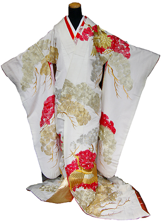 神社 結婚式 食事会 色打掛 白無垢 衣装 赤 金 松 つる 刺繍  栃木 群馬 埼玉